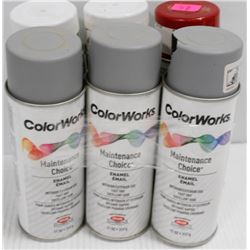 6 CANS OF COLORWORKS MAINTENTANCE CHOICE ENAMEL