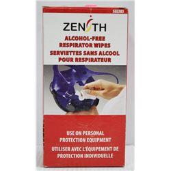 BOX OF ZENITH ALCOHOL FREE RESPIRATOR WIPES