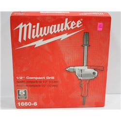 "MILWAUKEE 1/2"" COMPACT ELECTRIC  DRILL MOD# 1660-6"