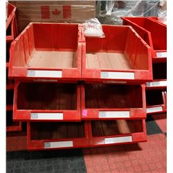 "NEW 6PC 12"" KLETON HIGH STACK STORAGE BINS; RED"