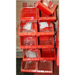 "NEW 9PC 8"" KLETON HIGH STACK STORAGE BINS; RED"