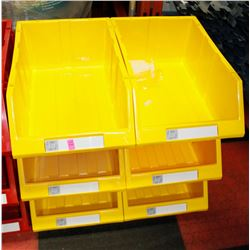 "NEW 6PC 12"" KLETON HIGH STACK STORAGE BINS; YELLOW"