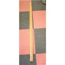 LOT OF 3 ASSORTED WOODEN CLEANING TOOL HANDLES