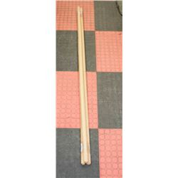 LOT OF 3 ASSORTED 6FT WOODEN CLEANING TOOL HANDLES