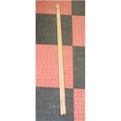 LOT OF 3 ASSORTED 5FT WOODEN CLEANING TOOL HANDLES