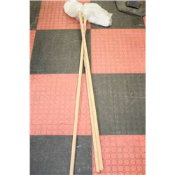 LOT OF 3 WOODEN HANDLED MOPS