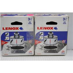 "2PK OF LENOX 3 1/4"" 83MM HOLE SAW W/ SPEED SLOT"
