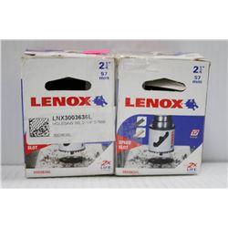 "2PK OF LENOX 2 1/4"" 57MM HOLE SAWS W/ SPEED SLOT"