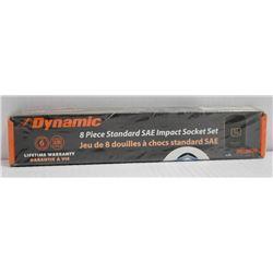 NEW DYNAMIC 8PC STANDARD SAE IMPACT SOCKET SET