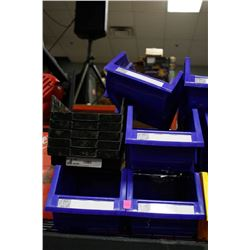 LOT OF 9 ASSORTED NEW STACKABLE BINS, BLUE &