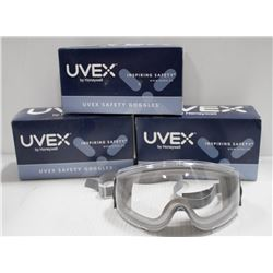 3 PAIRS OF NEW UVEX HIGH IMPACT CLEAR LENS SAFETY