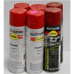 LOT OF 6 CANS RUSTOLEUM ENAMEL SPRAY PAINT