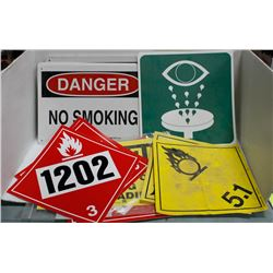 STACK OF ASSORTED SAFETY SIGNS