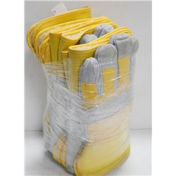BUNDLE OF 6 SPLIT COW HIDE GLOVES YELLOW SIZE 2XL