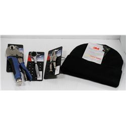 ASSORTED NEW TOOL LOT WITH NEW THINSULATE TOUQUE