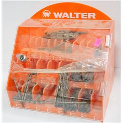 WALTER ORANGE DRILL BIT DISPLAY CASE W/ CONTENTS