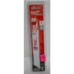 "MILWAUKEE 5PK 6"" 18TPI SAWZALL BLADES -MEDIUM"