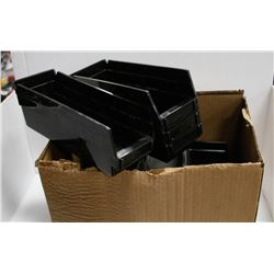 BOX  OF SMALL BLACK STACKABLE BINS