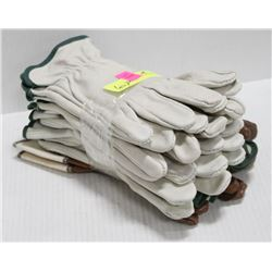 6 PAIR OF ASSORTED LEATHER WORK GLOVES; SIZE MED
