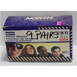 9 PK OF NORTH SAFETY GLASSES; SMOKE LENS