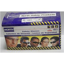10 PK OF NORTH SAFETY GLASSES; CLEAR LENS