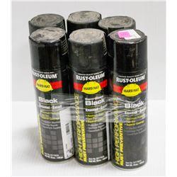 6 CANS OF RUSTOLEUM BLACK ENAMEL FAST DRY SPRAY