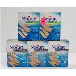 LOT OF 5 ASSORTED BOXES OF NEXACRE 3M BANDAIDS