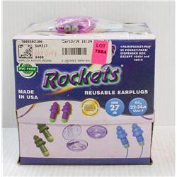 BOX OF 50PR OF ROCKETS UNCORDED REUSABLE EARPLUGS