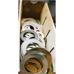 BOX OF ASSORTED METAL WASHERS