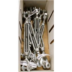 BOX OF ASSORTED SIZED HOOK & HOOK TURNBUCKLES