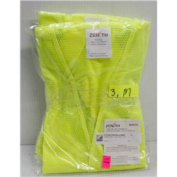 LOT OF 3 NEW ZENITH TRAFFIC VESTS, LIME YELLOW,