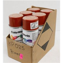 6 CANS OF COLORWORKS ENAMEL PRIMER SPRAY PAINT