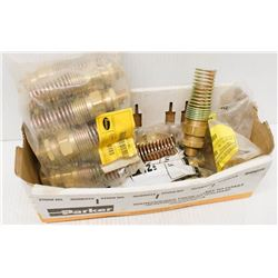 BOX OF ASSORTED BRASS AIR BRAKE FITTINGS, HOSE