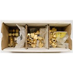 BOX OF ASSORTED BRASS TEE FITTINGS