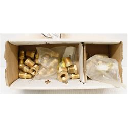 BOX OF ASSORTED BRASS HEX SCREW FITTINGS