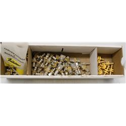 BOX OF ASSORTED SPLICING SCREW FITTINGS, SOME