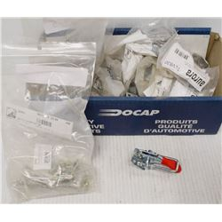 BOX OF TOGGLE CLAMPS, GREASE FITTINGS & MORE