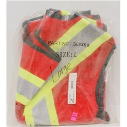NEW DURATECH RED SAFETY VEST SIZE LARGE