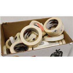 BOX OF ASSORTED MASKING & REINFORCED TAPE ROLLS