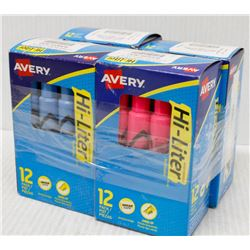 4 BOXES OF AVERY HI-LITERS, 12 PER BOX, BLUE, PINK