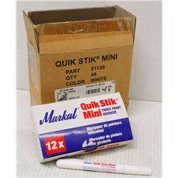 CASE OF 48 QUIK STIK MINI PAINT MARKERS - WHITE