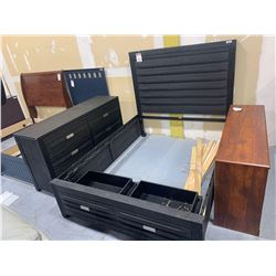 6 piece bedroom suite includes queen head board, captains foot board, 2-rails, slats and 6 drawer dr