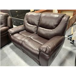 Brown stitched Leather double reclining loveseat
