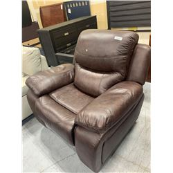 Brown Leather over stuffed recliner chair