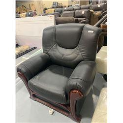 Wood Trimmed Black Leather Sofa Chair