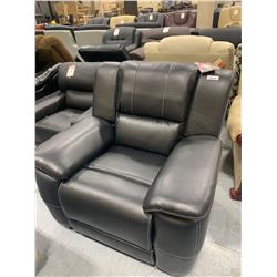Black Stiched Genuine Bonded Leather Reclining Sofa Chair