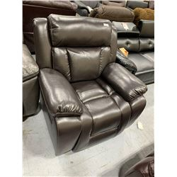 Brown Stitched Bonded Leather Recliner
