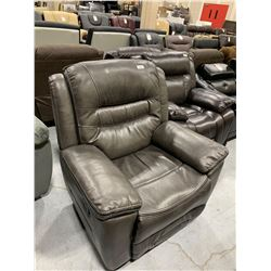 Gray Cowhide Grain Leather Reclining Chair