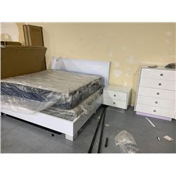 7 piece White King Size Bed Set with matching night stand and 5 drawer dresser, headboard, footboard
