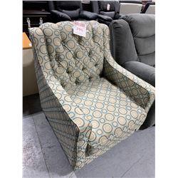 Upholstered Sofa Chair blue swirls studded